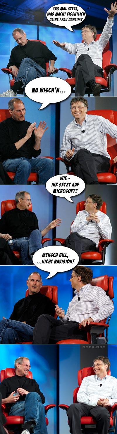 Steve Jobs und Bill Gates unterhalten sich über Navision